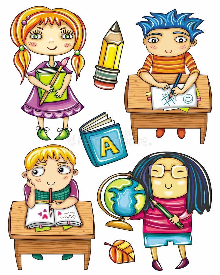 Grappige schoolkinderenreeks 2 vector illustratie
