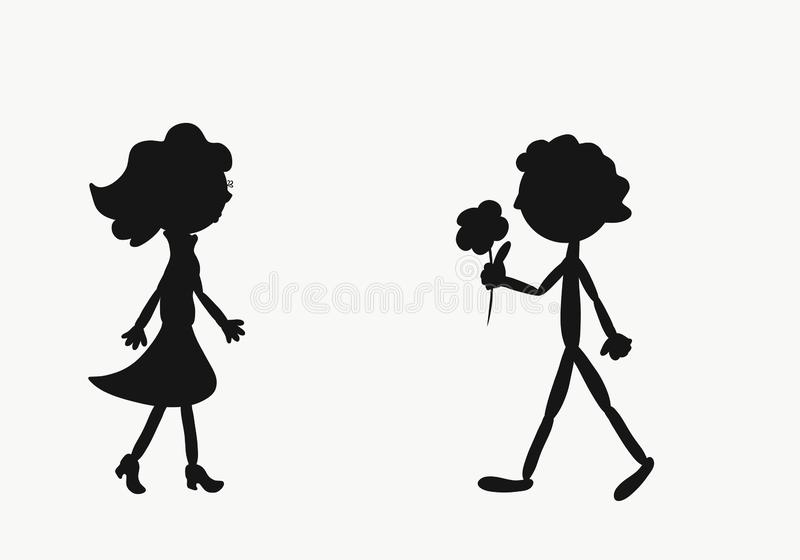 Grappige silhouetten van de mens en vrouw, romantische vergadering en bloem stock illustratie