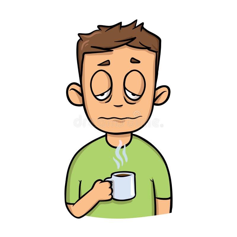 Grappige slaperige kerel met een kop van ochtendkoffie Het pictogram van het beeldverhaalontwerp Vlakke vectorillustratie Geïsole vector illustratie