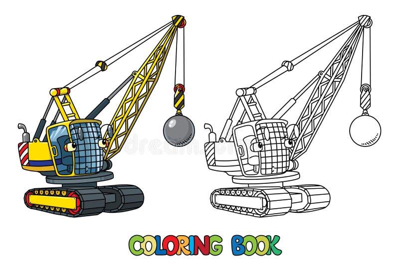 Grappige slopende balvrachtwagen met ogen Kleurend boek royalty-vrije illustratie