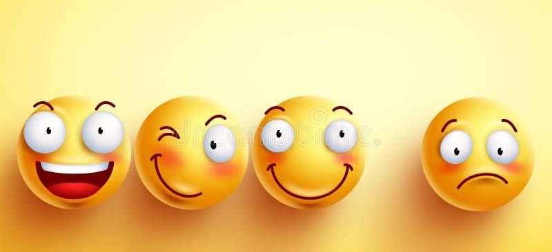 Grappige smileys vectorgezichten met gelukkige glimlach met gescheiden  royalty-vrije illustratie