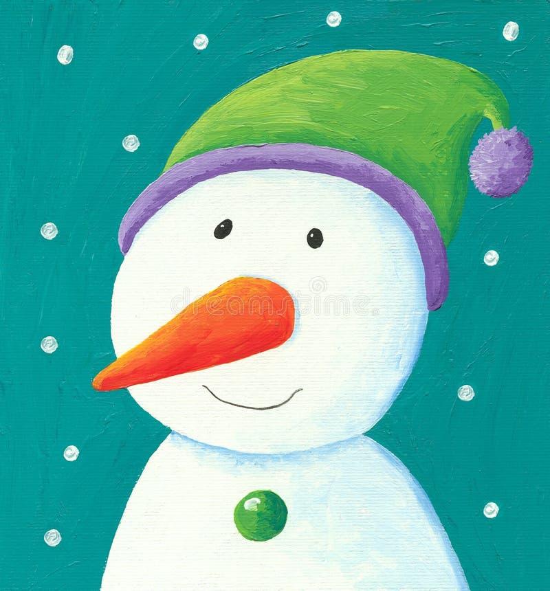 Grappige sneeuwman stock illustratie