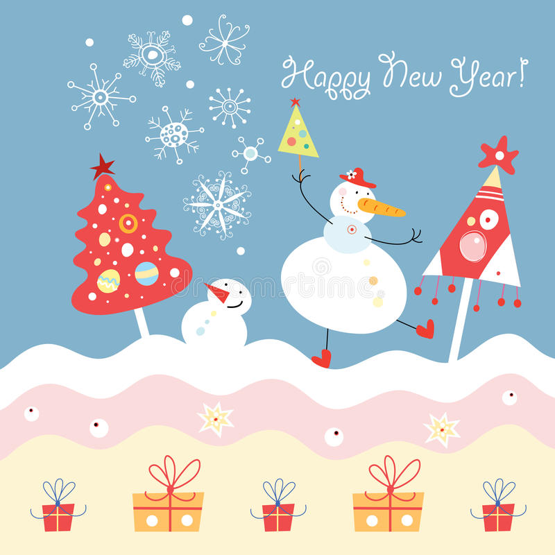 Grappige sneeuwmannen en Kerstbomen royalty-vrije illustratie