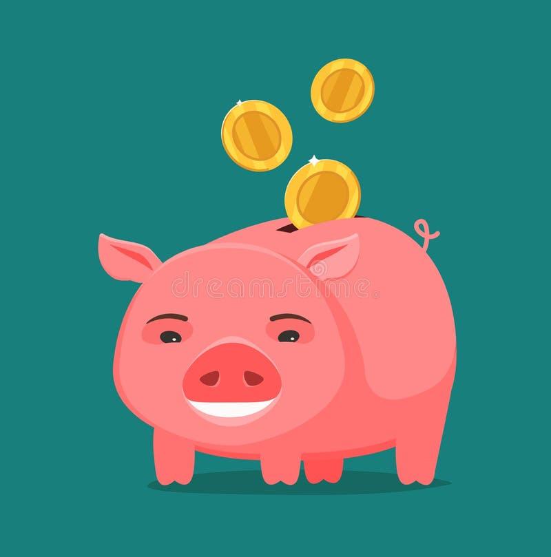 Grappige spaarvarken en muntstukken Zaken, het bank concept De vectorillustratie van het beeldverhaal vector illustratie