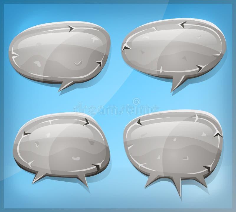 Grappige Steen en Rotstoespraakbellen vector illustratie