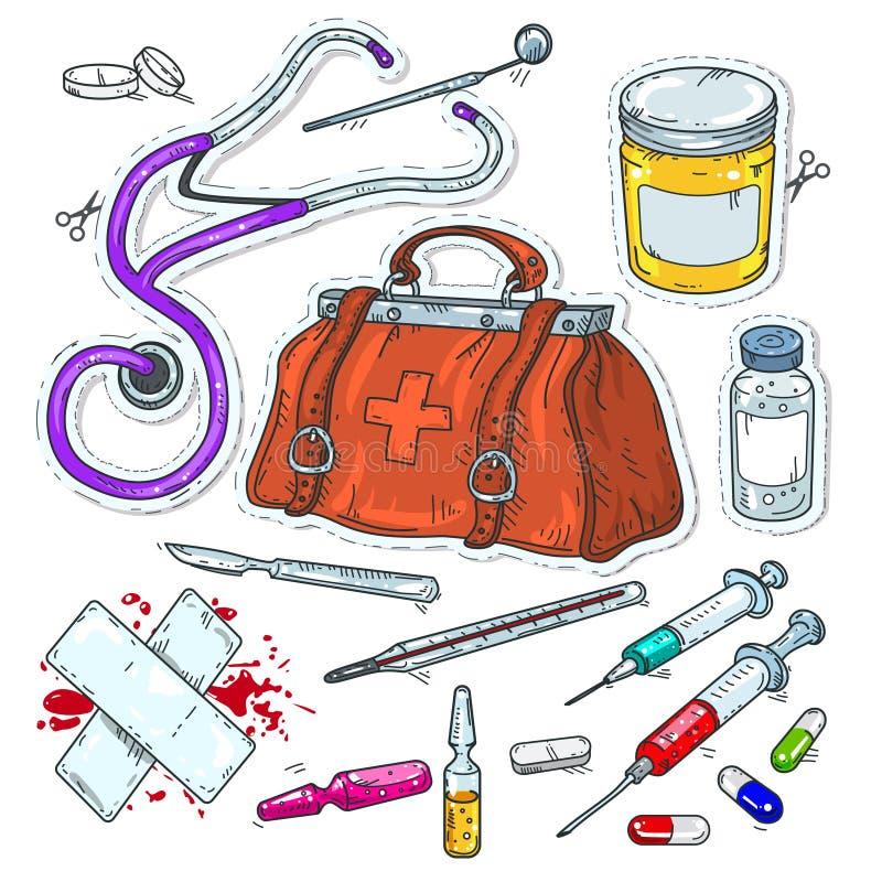 Grappige stijlpictogrammen, sticker van medische hulpmiddelen, artsenzak stock foto