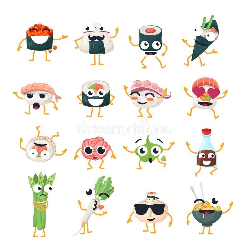 Grappige sushi en wok - vector geïsoleerd beeldverhaal emoticons stock illustratie