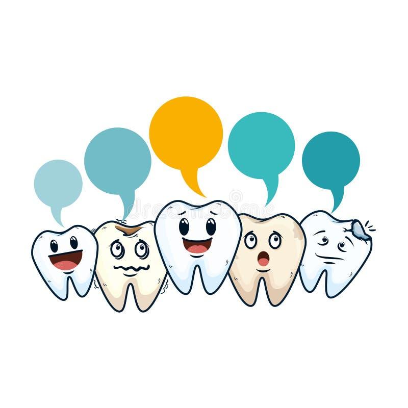 Grappige tanden met kawaiikarakters van toespraakbellen vector illustratie