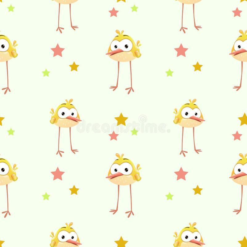 Grappige textuur met grappige gele vogel royalty-vrije illustratie