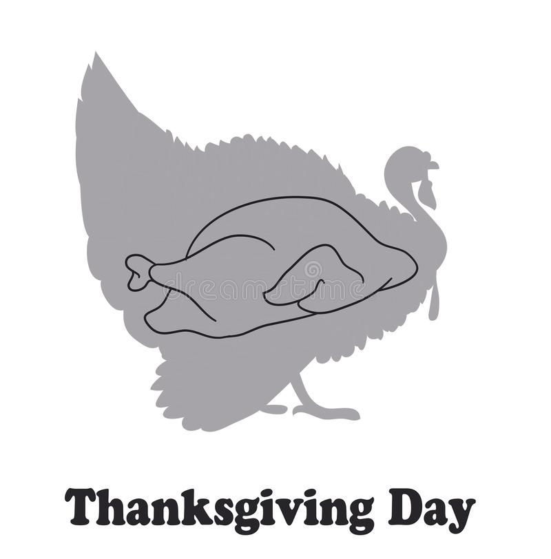 Grappige Thanksgiving daykaart met een beeld van Turkije en een vin vector illustratie