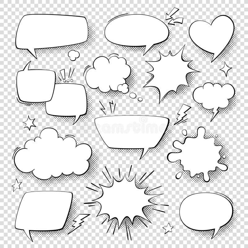 Grappige toespraakbellen Beeldverhaalstrippagina het spreken en gedachte bellen Retro toespraak geeft vectorreeks gestalte vector illustratie