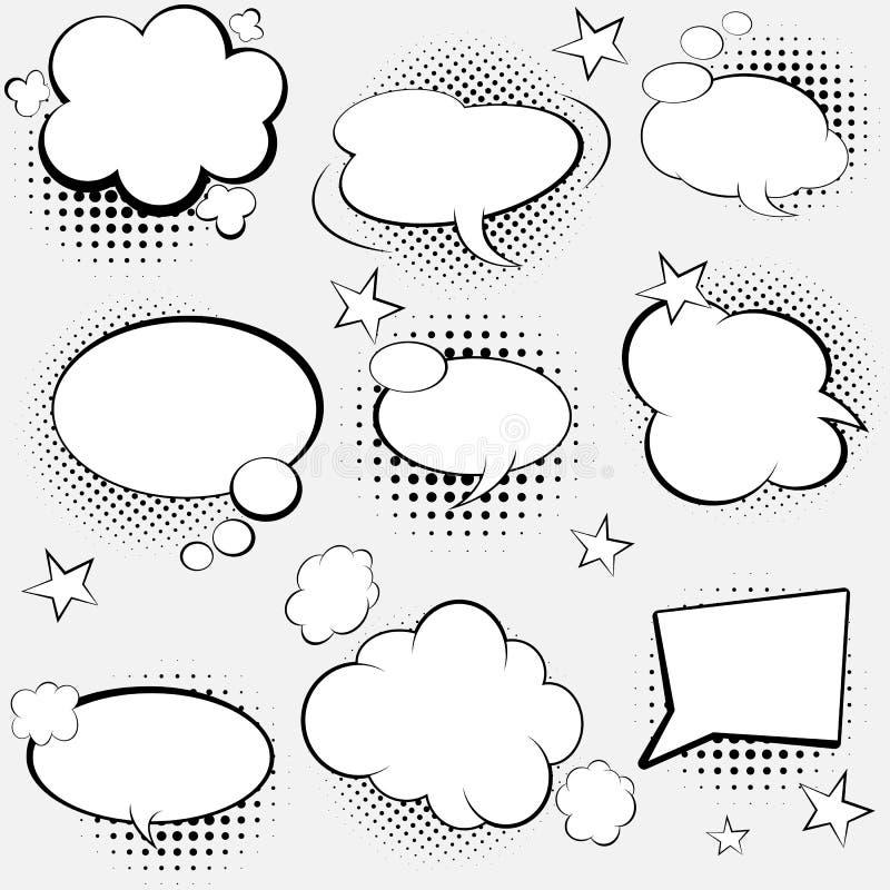 Grappige toespraakbellen Illustratie van het pop-art de vectoretiket De uitstekende affiche van het strippaginaboek op grijze ach stock foto's