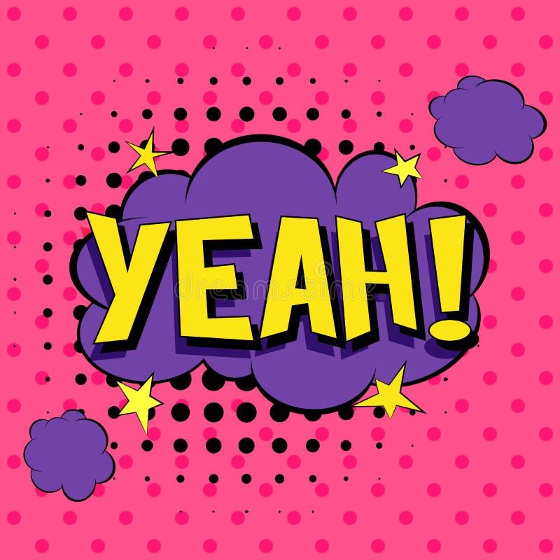 Grappige toespraakbellen Illustratie van het pop-art de vectoretiket De uitstekende affiche van het strippaginaboek Op roze achte royalty-vrije illustratie