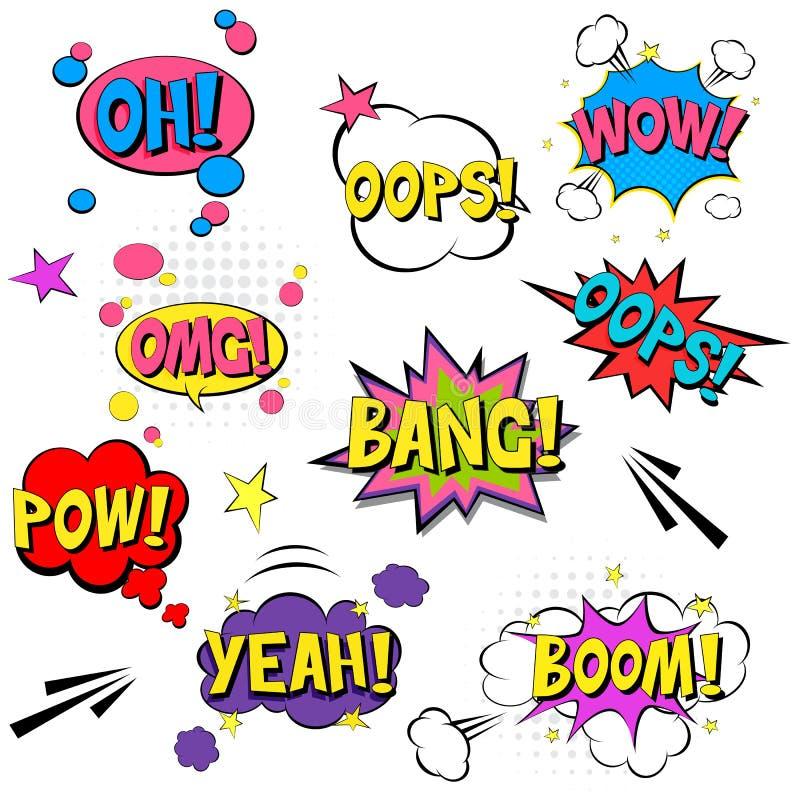 Grappige toespraakbellen met brieven Illustratie van het pop-art de vectoretiket De uitstekende affiche van het strippaginaboek o vector illustratie