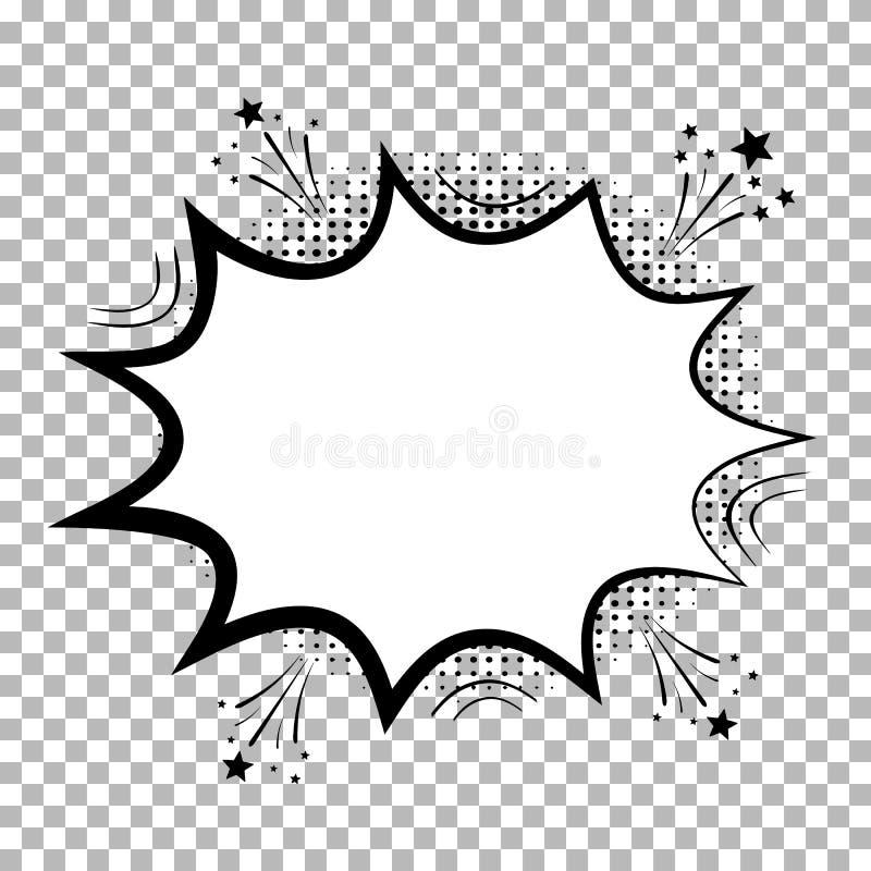 Grappige toespraakbellen met halftone schaduwen Geïsoleerd op transparante achtergrond Wolken van de pictogram de Lege dialoog in royalty-vrije illustratie