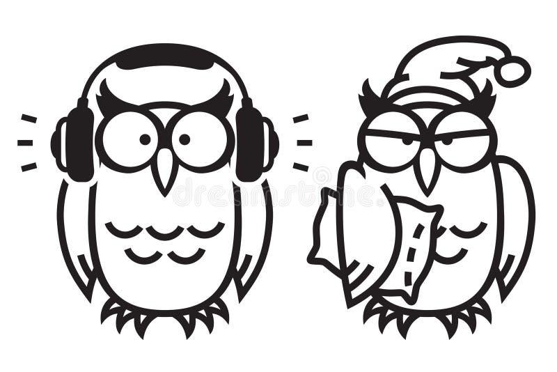 Grappige uilen: uil aan muziek luisteren en slaperige uil die in slaapmutsje stock illustratie