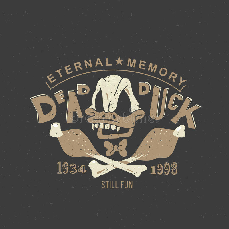 Grappige uitstekende illustratie voor tatoegering of gedrukt op een T-shirt, kleren: De schedelskelet van het eendbeeldverhaal stock illustratie