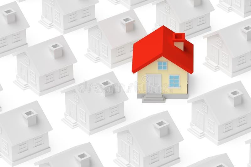 Grappige unieke huistribune uit van menigte van huizen stock illustratie