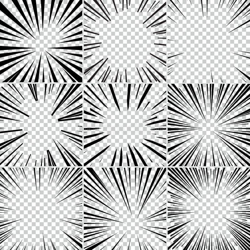 Grappige van de het pop-artstijl van boeksuperhero zwart-witte radiale de lijnenachtergrond Manga of anime snelheidskader stock illustratie