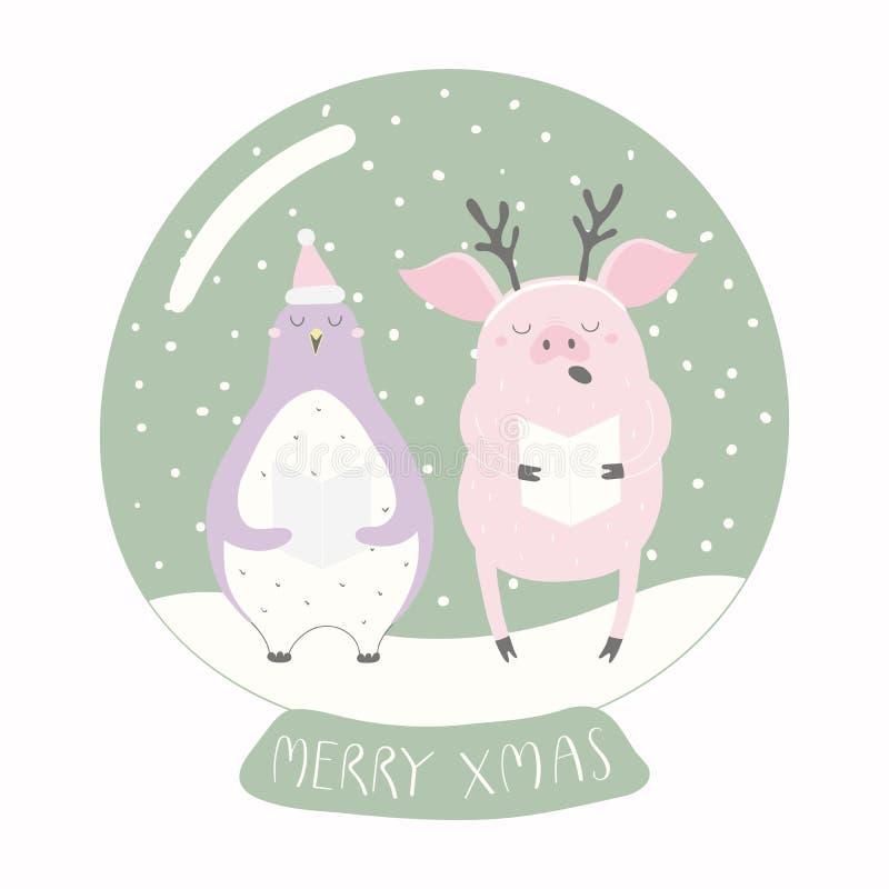 Grappige varken en pinguïn in een sneeuwbol royalty-vrije illustratie