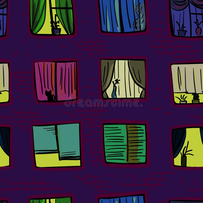 Grappige vector naadloze patroonvensters in high-rise de bouw nacht stock illustratie