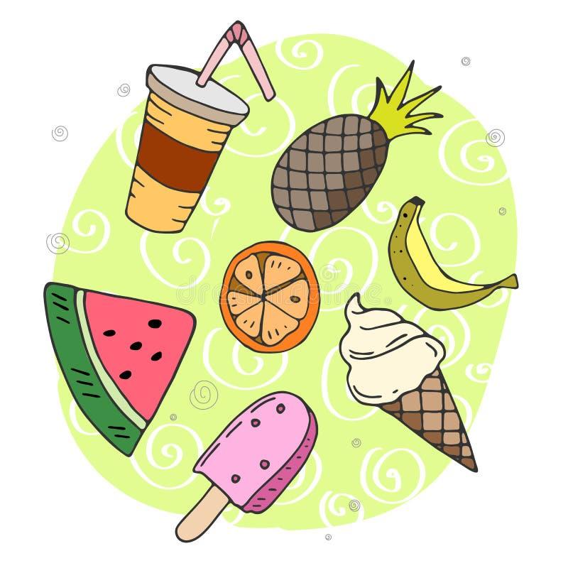 Grappige vectorillustratie van de zomervoedsel met decoratieve elementen stock illustratie