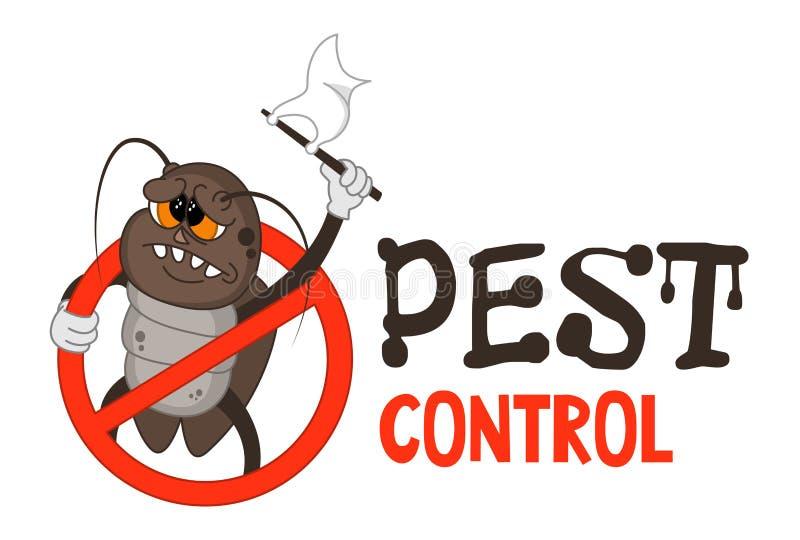 Grappige vectorillustratie van ongediertebestrijdingsembleem voor berokingszaken De grappige gesloten kakkerlak geeft zich over O vector illustratie