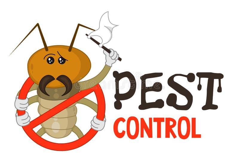 Grappige vectorillustratie van ongediertebestrijdingsembleem voor berokingszaken De grappige gesloten termiet geeft zich over Ont stock illustratie