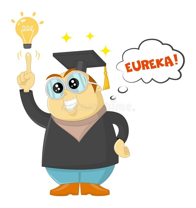 Grappige vectorleraar of wetenschapper die een Eureka-ogenblik hebben Geniestudent, universitair onderwijs en toekomstige aspirat vector illustratie