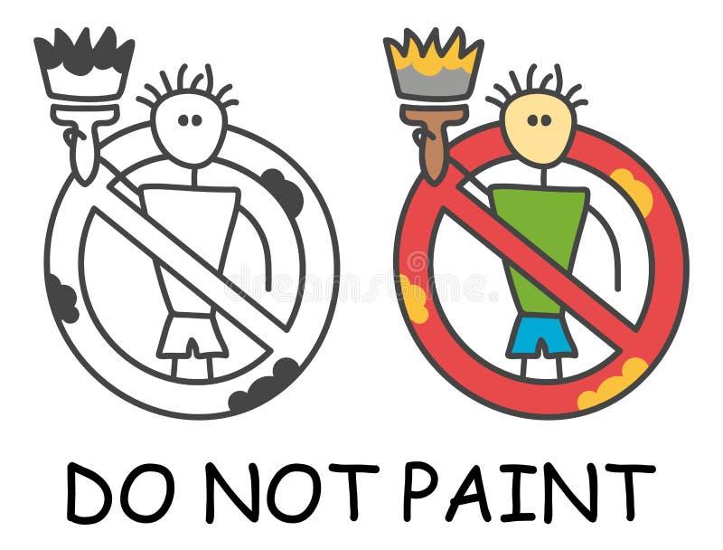 Grappige vectorstokmens met een penseel in de stijl van kinderen Geen rood verbod van het verfteken Het symbool van het einde Ver vector illustratie