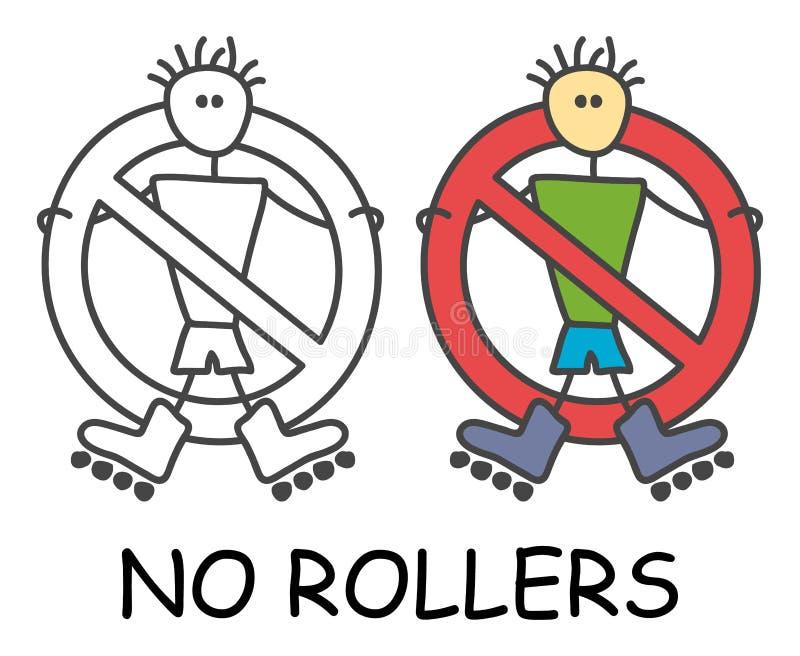 Grappige vectorstokmens met een Rollerblades in de stijl van kinderen Geen Rolschaatsen ondertekenen rood verbod Het symbool van  royalty-vrije illustratie