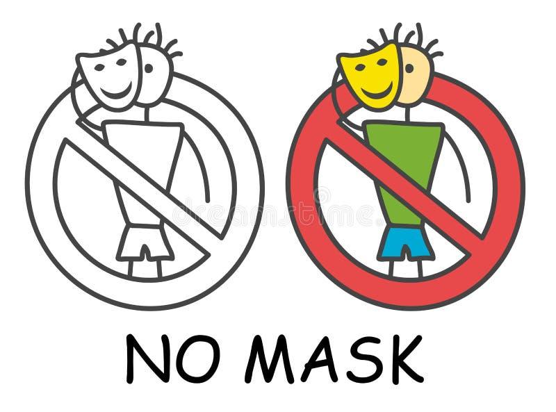 Grappige vectorstokmens met masker in de stijl van kinderen Geen geen hakker steelt teken rood verbod Het symbool van het einde V vector illustratie
