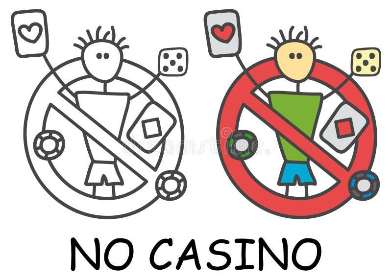 Grappige vectorstokmens met speelkaarten en beenderen in de stijl van kinderen Geen casino geen het gokken teken rood verbod royalty-vrije illustratie