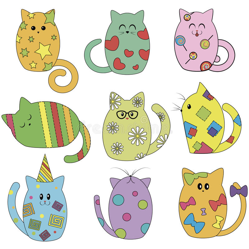 Grappige veelkleurige katten stock illustratie