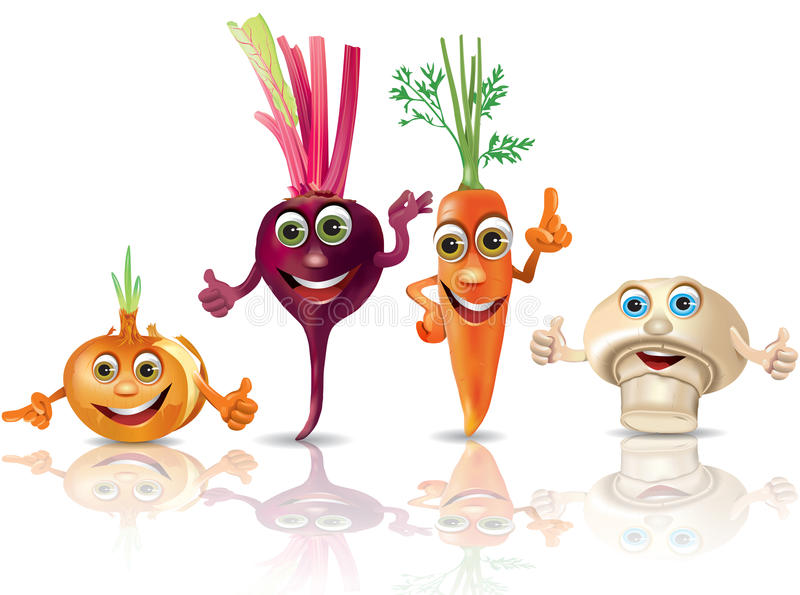 Grappige vegetables_onion, biet, wortel, paddestoel royalty-vrije illustratie
