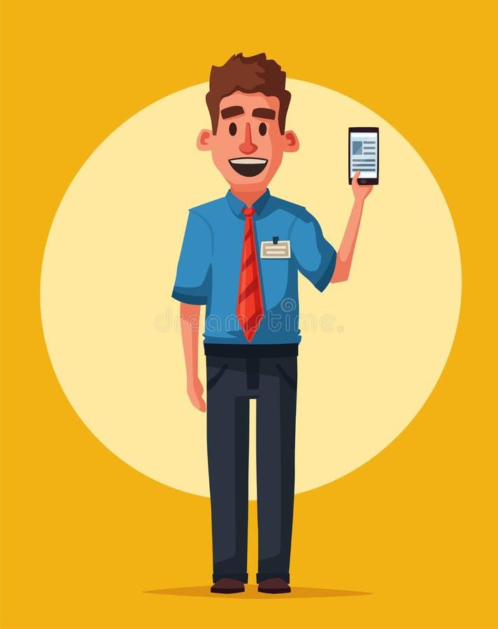 Grappige verkoper met telefoon De vectorillustratie van het beeldverhaal stock illustratie