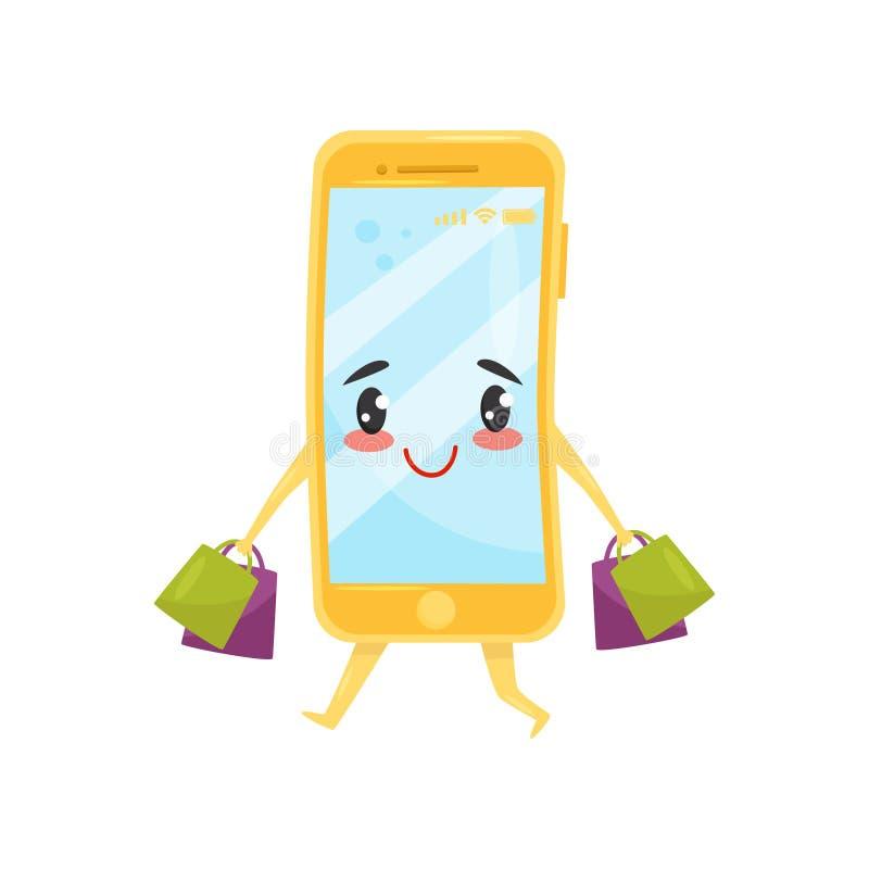 Grappige vermenselijkte smartphone die met het winkelen zakken lopen Online kopend Leuk beeldverhaalkarakter Vlak vectorpictogram vector illustratie