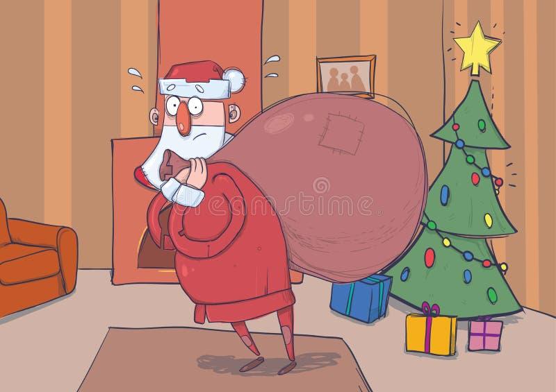 Grappige verwarde Santa Claus met grote zak van giften in ruimte met decoreted Kerstboom en een open haard De kerstman kijkt verl vector illustratie