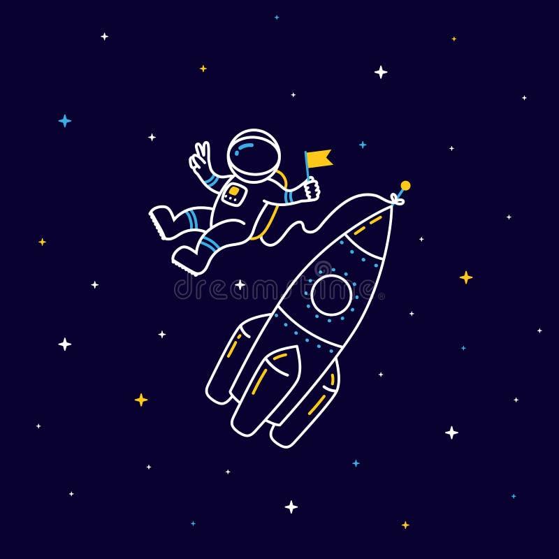 Grappige vliegende astronaut in ruimte met raket en sterren rond in lineaire stijl vector illustratie