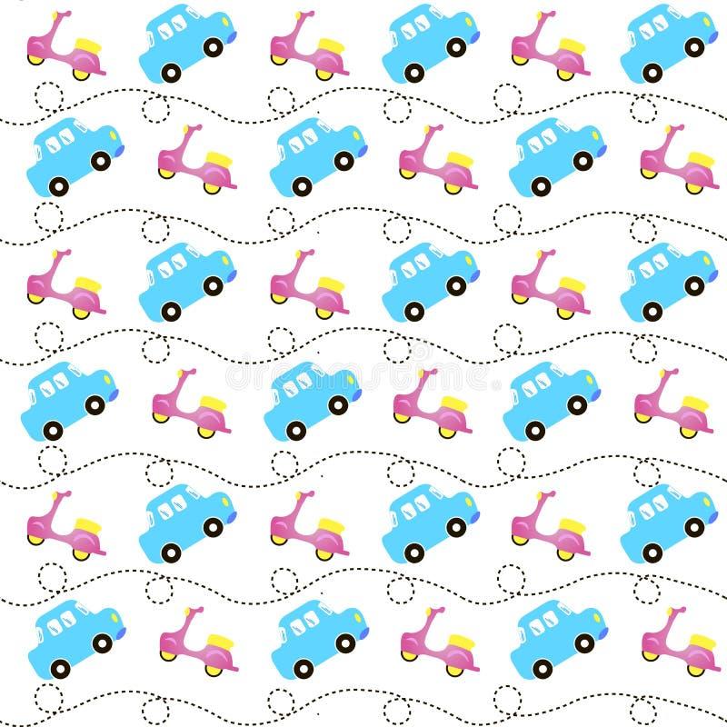 Grappige vliegende auto's en bromfietsen, naadloos patroon, jonge geitjes uitstekend vervoer als achtergrond vector illustratie