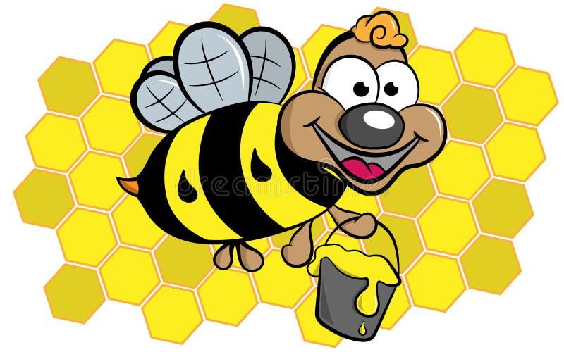 Grappige vliegende bij met honing stock fotografie
