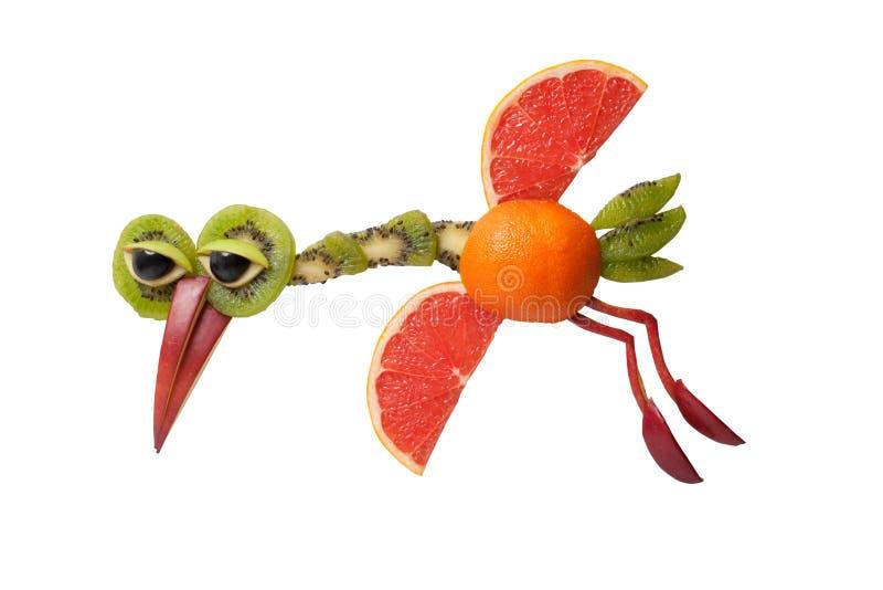 Grappige vliegende die vogel van grapefruit en kiwi wordt gemaakt royalty-vrije stock afbeelding