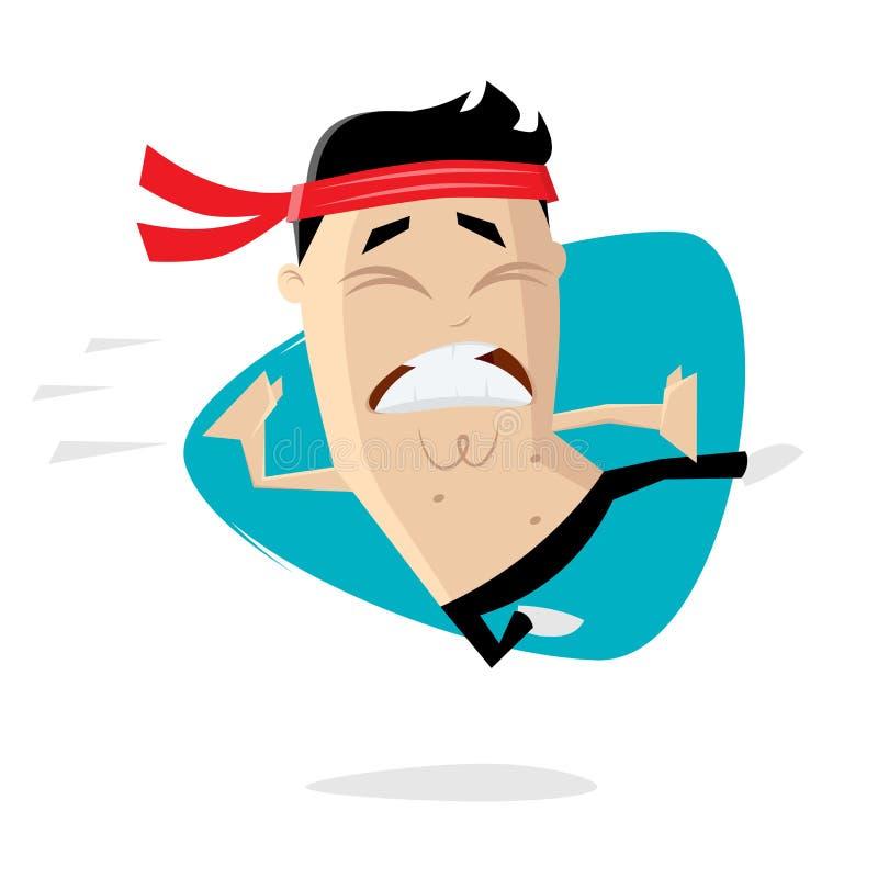 Grappige vliegende karatevechter clipart vector illustratie