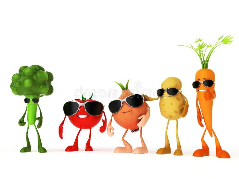 Grappige voedselkarakters vector illustratie