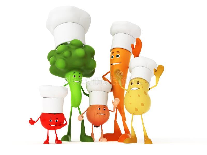 Grappige voedselkarakters stock illustratie