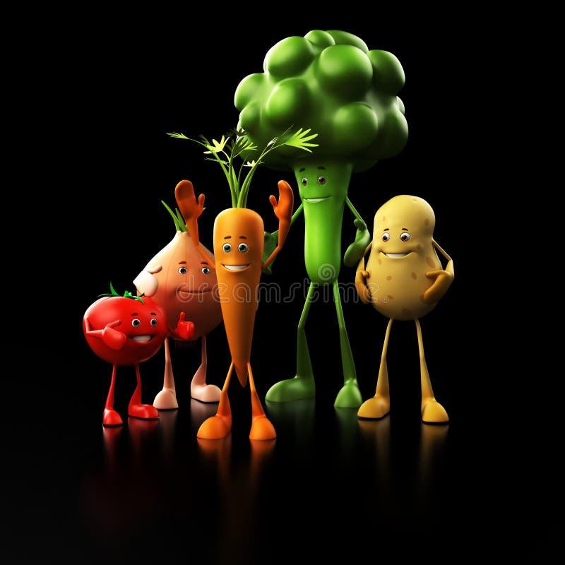 Grappige voedselkarakters royalty-vrije illustratie