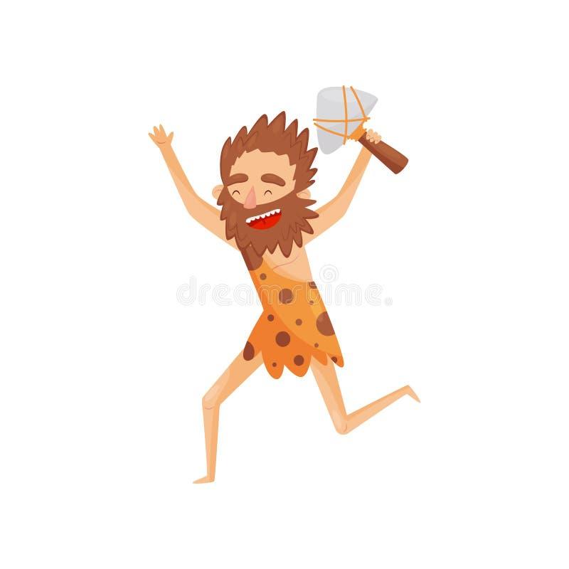 Grappige voorhistorische mens met knuppel, primitieve het karakter vectorillustratie van het holbewonersbeeldverhaal op een witte royalty-vrije illustratie