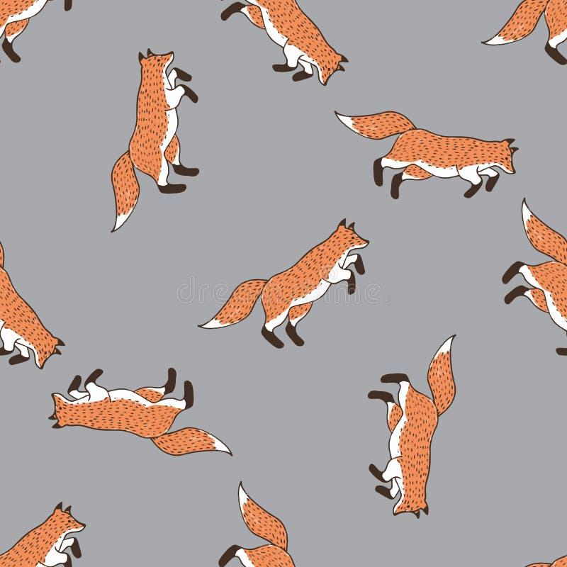 Grappige vossen, naadloos patroon voor uw ontwerp royalty-vrije illustratie
