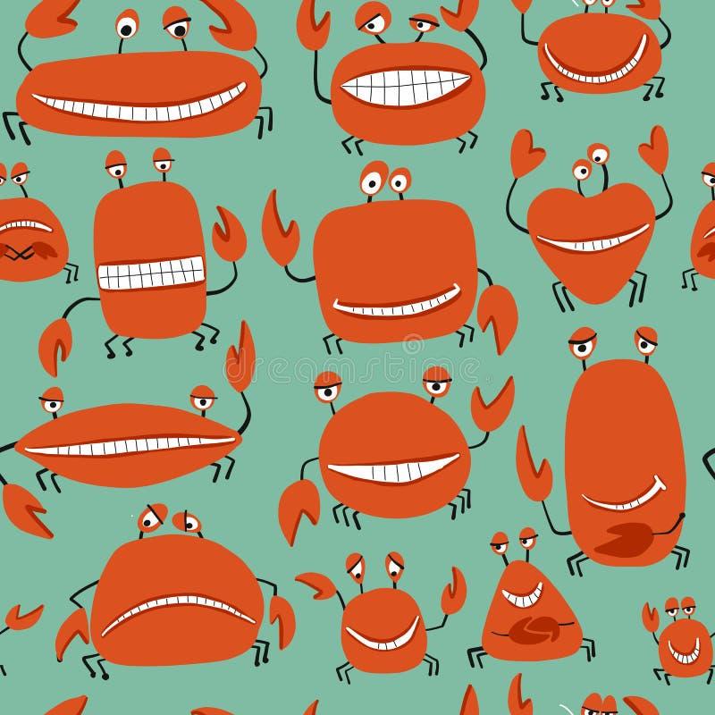 Grappige vriendenkrabben, naadloos patroon voor uw ontwerp royalty-vrije illustratie