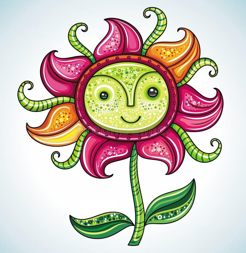 Grappige vriendschappelijke bloem Eco, stock illustratie